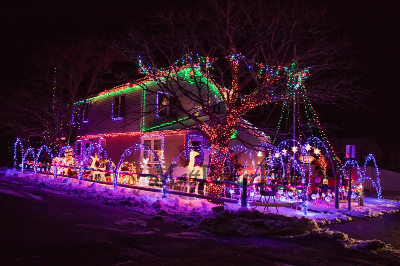 A lighting display at the Lawson home on Battcock Avenue, where Marge Lawson says her grandson helped set up a massive Christmas light display this holiday season on Wednesday 12-18-2019, Hampton Beach, NH.  Matt Parker Photos