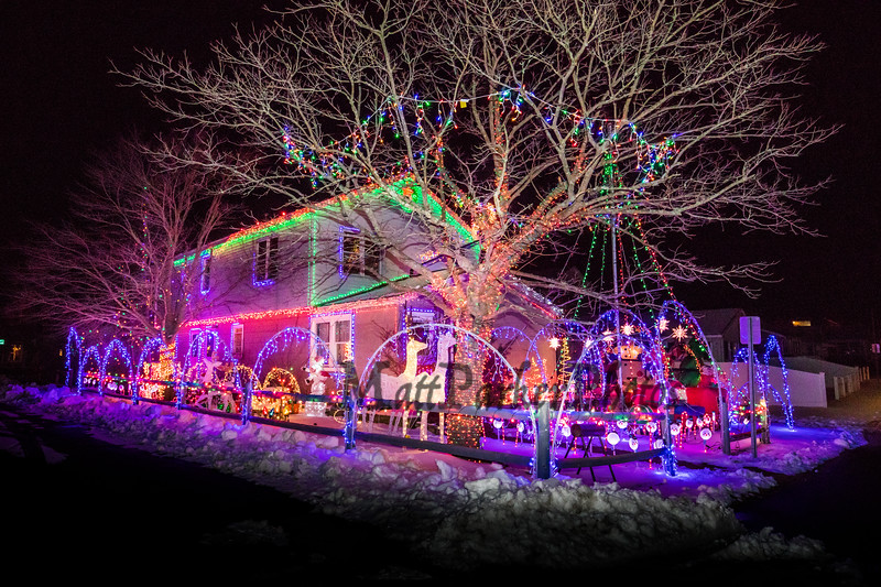 A lighting display at the Lawson home on Battcock Avenue, where Marge Lawson says her grandson helped set up a massive Christmas light display this holiday season on Wednesday 12-18-2019, Hampton Beach, NH.  [Matt Parker/Seacoastonline]