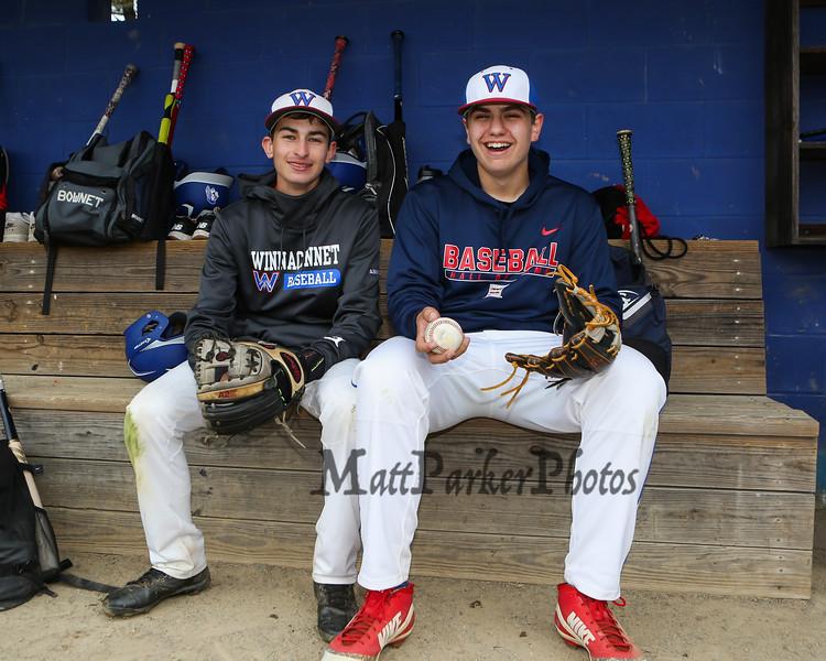 Winnacunnet Baseball pitchers #33 Brady Annis(L) and #30 Ben Allen posing for photos on Monday 5-13-2019 @ WHS.  Matt Parker Photos