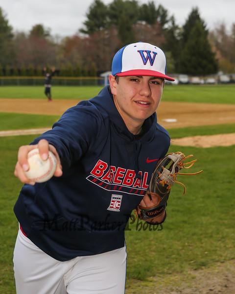 Winnacunnet Baseball pitcher #30 Ben Allen posing for photos on Monday 5-13-2019 @ WHS.  Matt Parker Photos