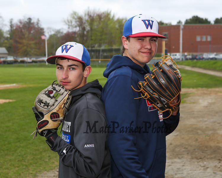 Winnacunnet Baseball pitchers back to back #33 Brady Annis (L) and #30 Ben Allen posing for photos on Monday 5-13-2019 @ WHS.  Matt Parker Photos