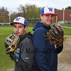 Winnacunnet Baseball pitchers back to back #33 Brady Annis (L) and #30 Ben Allen posing for photos on Monday 5-13-2019 @ WHS.  Matt Parker Photos