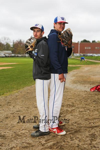 Winnacunnet Baseball pitchers #33 Brady Annis and #30 Ben Allen posing for photos on Monday 5-13-2019 @ WHS.  Matt Parker Photos