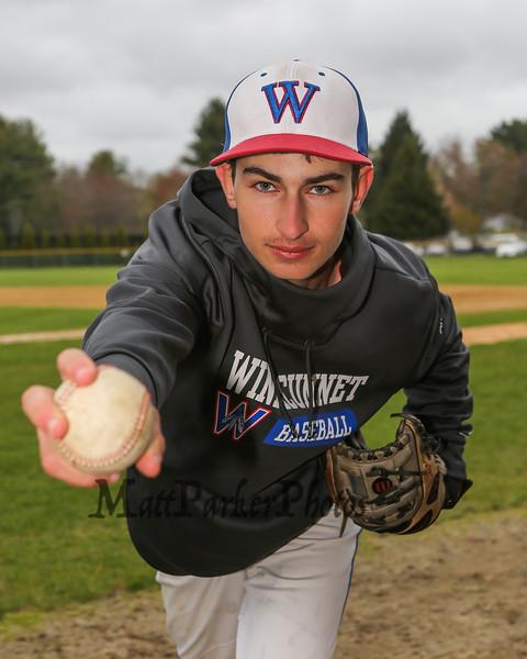 Winnacunnet Baseball pitcher #33 Brady Annis posing for photos on Monday 5-13-2019 @ WHS.  Matt Parker Photos