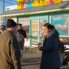 Presidential hopeful Democrat Tulsi Gabbard talks with supports before heading in to Cinnamon Rainbows Surf Co. to suit up in a wetsuit for a morning surfing outing on New Years Day at Hampton's North Beach on January 1st 2020 Hampton, New Hampshire.  [Matt Parker/Seacoastonline]