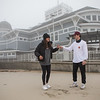 "2019 graduates Emmie Daswani of WHS and Garret Roberts of EHS pose for photos at Hampton Beach where they will end their planned 120 mile journey from NH's Highest Mt. Washington to lowest, Hampton Beach,  ""The Highs & Lows"" as they raise money to support Mental Health aflictions through their funraiser, ""The Concept Project"" on Tuesday 12-1-2020, Hampton Beach, NH.  Matt Parker Photos"