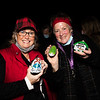 Suzanne Marlowe and Patti Kearns of The Seabrook NH Rocks show off some of the groups newest creations at the Yankee Fishermen's Cooperative, 2nd Annual Lobster trap Tree Lighting and visit by santa on Sunday 12-13-2020 @ Seabrook Beach, NH.  Matt Parker Photos