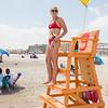 Hampton Beach Lifeguard and Winnacunnet standout swimmer Anne Rademacher at her post on Hampton Beach's opening weekend on Saturday June 6th 2020.  [Matt Parker/Seacoastonline]