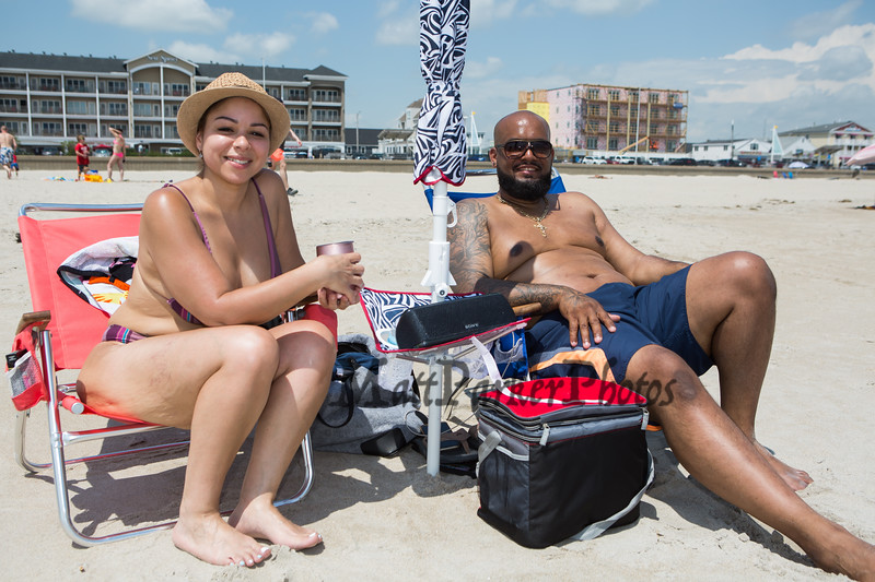 Yahaira Rivera and Pedro Rodriguez of Manchester CT enjoying Hampton Beach's opening weekend on Saturday June 6th 2020.  Matt Parker Photos
