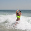 Londonderry's Lilly Bowman (L) and Julia Cole enjoying the water and waves at Hampton Beach's opening weekend on Saturday June 6th 2020.  Matt Parker Photos