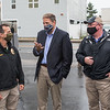 Governor Chris Sununu talks with Hampton's Police Chief Rich Sawyer and Deputy Chief Dave Hobbs at Wednesday's event at the Main Sail Motel and Cottages celebrating the end of a difficult Summer amidst COVID-19 on 9-2-2020, Hampton Beach, NH.  Matt Parker Photos