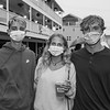 Jack Freenstra, Katie Piper and Jack Heslop pose for a photo at Wednesday's event at the Main Sail Motel and Cottages celebrating the end of a difficult Summer amidst COVID-19 on 9-2-2020, Hampton Beach, NH.  Matt Parker Photos