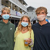 Jack Freenstra, Katie Piper and Jack Heslop pose for a photo at Wednesday's event at the Main Sail Motel and Cottages celebrating the end of a difficult Summer amidst COVID-19 on 9-2-2020, Hampton Beach, NH.   [Matt Parker/Seacoastonline]