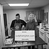 """Joan Sweeney (r) a St. Vincent de Paul volunteer introduces Chef Ben St Jeanne of The Big Bad Food Truck where he will showcase his technique for, """"Breaking down a Chicken for Cooking and Serving""""during a Facebook Live event held at the new SVdP's Community Kitchen.  SVdP of Hampton is holding a series of Cooking Shows, Cooking Up Support"""" featuring local chefs as a promotion for their fundraising campaign to cover the costs of their new building on Wednesday 5-5-2021, 441R, Lafayette Road, Hampton NH.  Matt Parker Photos"""