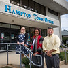 René Boudreau Hampton Recreation Director, Amanda  Reynolds-Cooper Lane Memorial Library Director and Stacy Mazur Assistant Director pose for a photo Thursday afternoon at the Hampton Town Office Building in support of a Hampton Community Center on 9-23-2021.  Matt Parker Photos