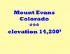 Mount Evans Colorado elevation 14,200