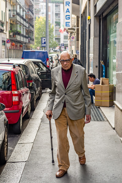 Never too old to walk and dress stylishly in Milan.
