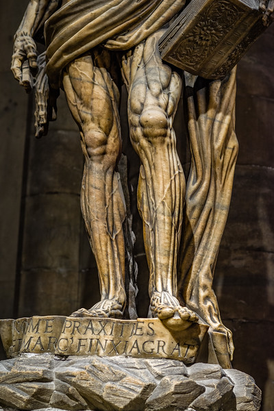 Lower detail of the statue of Saint Bartholomew in the Duomo di Milano.