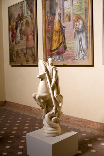 Statues by Bernardino Luini in Pinacoteca di Brera in Milan.