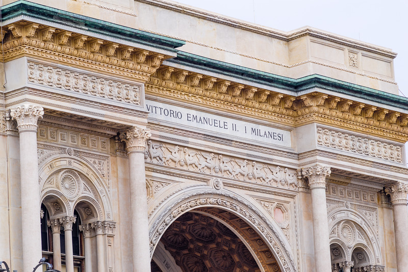 Entrance to the Galleria Vittorio Emanulele II in Milan.
