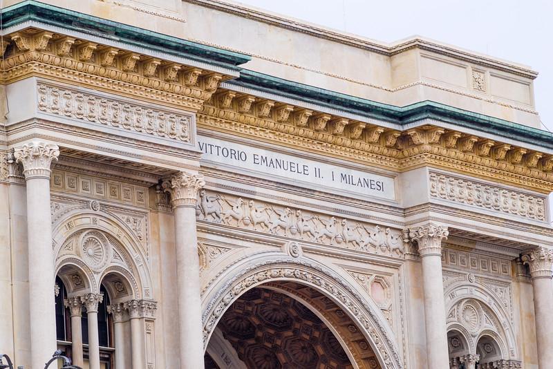 Entrance to the Galleria Vittorio Emanulele II in Milan.