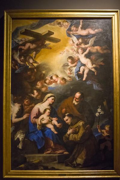 The Holy Family Venerated by Saint Antony of Padua;  Luca Giordano.