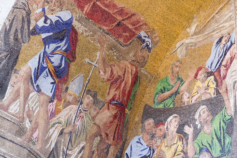 Left side detail of Arrival in Venice mosaic.