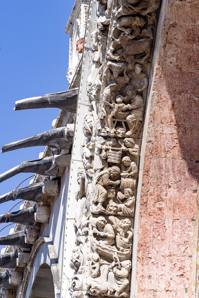 Sculpture and drain gutters on St. Mark's Basilica in Venice.