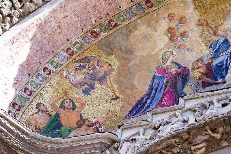 Left side detail of the Last Judgement moasic.