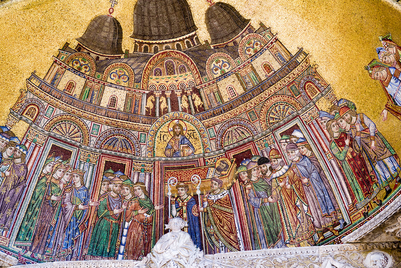 Placing the Saint's Body in the Basilica mosaic, west facade, Door of St. Alyplus detail, 13th century.
