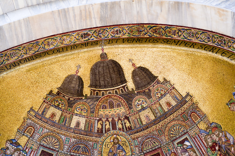 Upper detail of the lead domes and four horses on the Placing of the Saints Body in the Basilica mosaic.