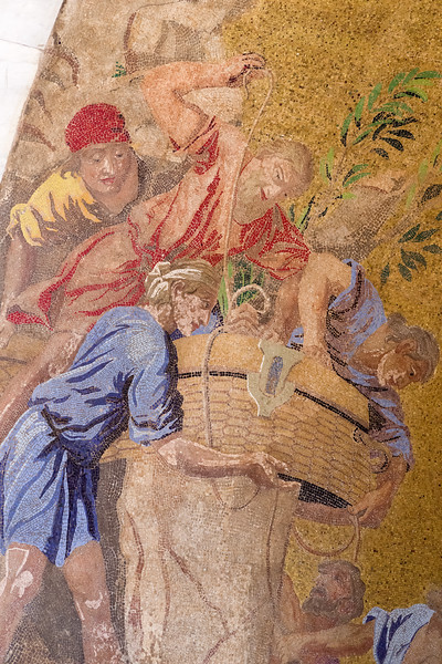 Mosaic detail adorning St. Mark's Basilica in Venice.