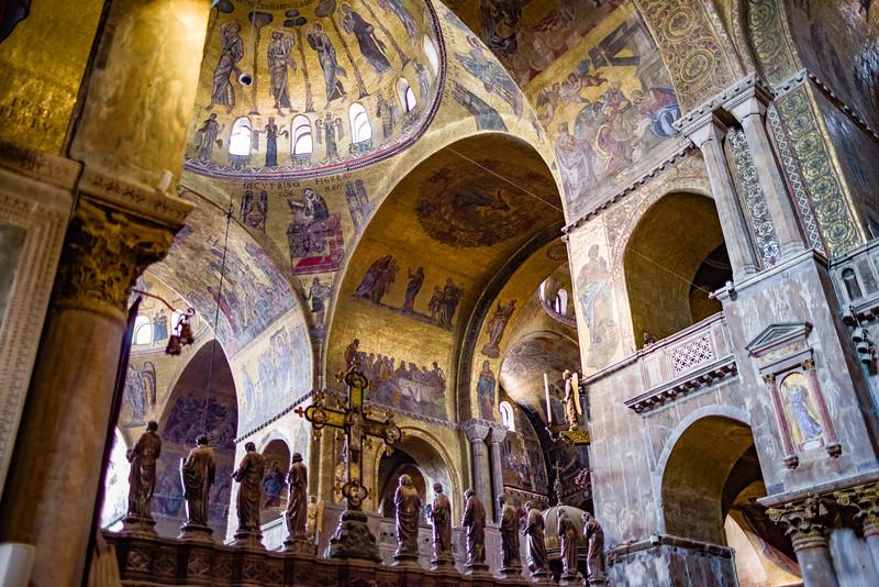 Inside St. Mark's Basilica in Venice.
