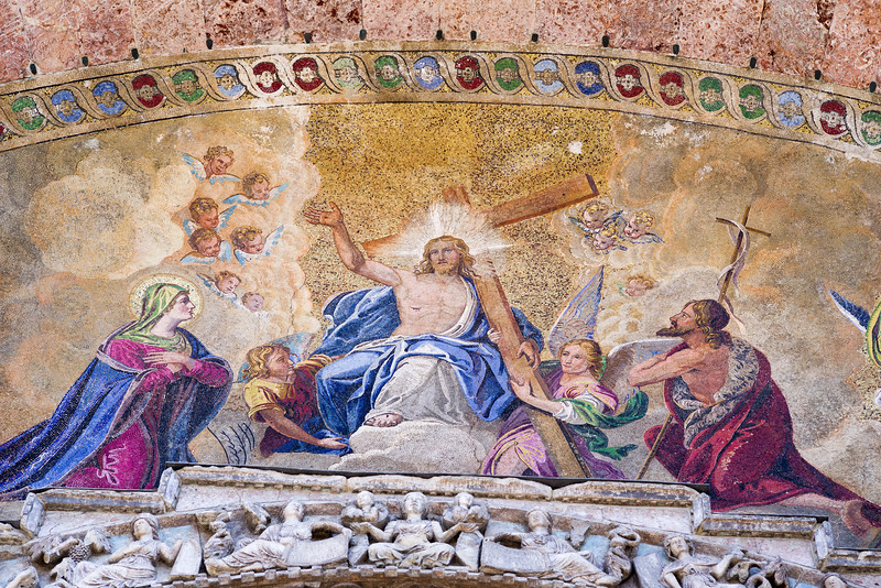 Detail of the Last Judgment mosaic in the bowl-shaped vault of the central portal, lower level, by mosaicst Liborio Salandri, to cartoons by Lattanzio Querena, (1836-38).