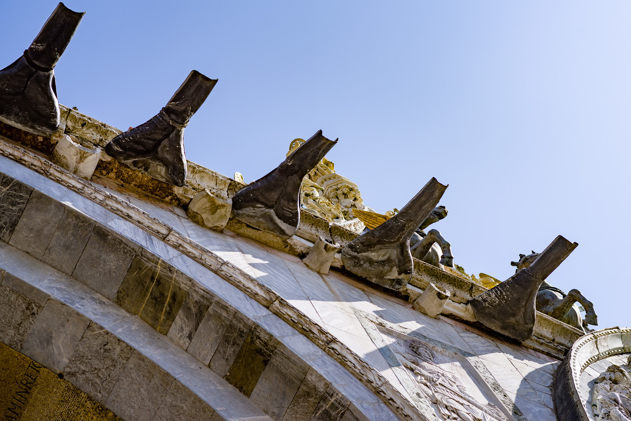 Outside detail of St. Mark's Basilica in Venice.