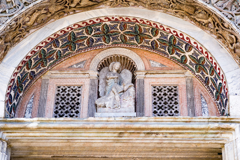 Outside detail of St. Mark's Basilica in Venice, Italy.