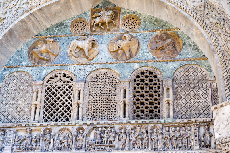 Outside detail of St. Mark's Basilica, west facade in Venice.