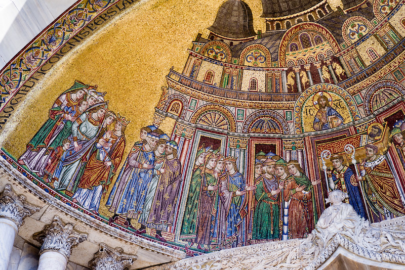 Left side detail of the Placing the Saint's Body in the Basilica mosaic.