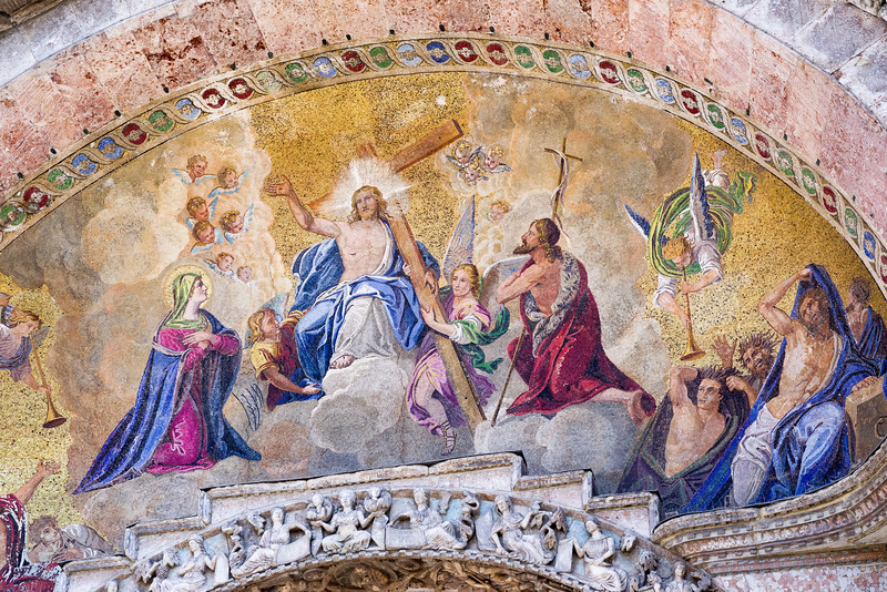 Last Judgement mosaic done by Liborio Salndri to cartoons by Lattanzio Querena (1836-38) in the bowl-shaped vault of the central portal, lower level.