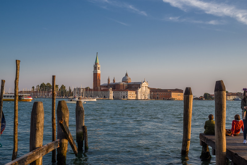 Sunset view of the island and Church of San Giorgio Maggiore across from Venice.