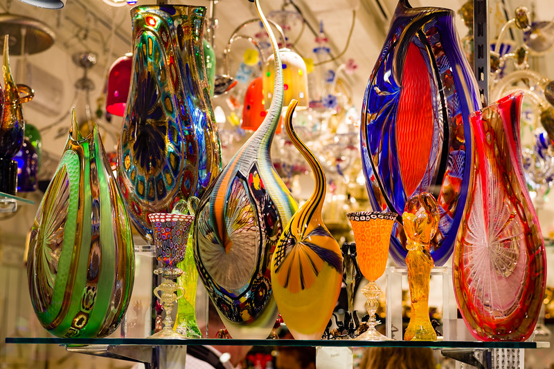 Window shopping Murano Glass in Venice.