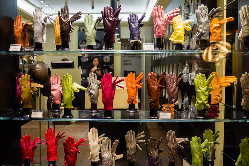 Artisan made gloves on display in Venice.