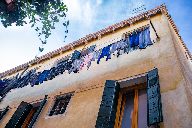 Freshly washed clothing on clotheslines are a common sight in Venice.