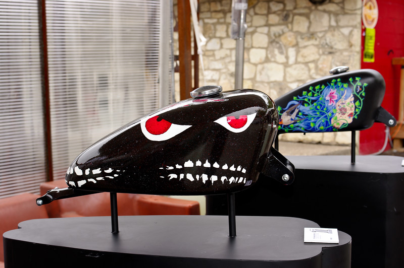 "Artistically rendered Harley-Davidson gas tanks on display at ""Harley-Davidson Does SXSW"" in Austin, Texas 2010."
