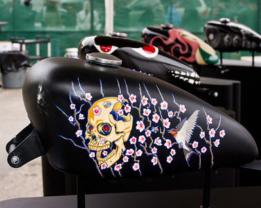 "Artistically rendered Harley-Davidson gas tanks on display at ""Harley-Davidson Does SXSW"" in Austin, Texas 2010."