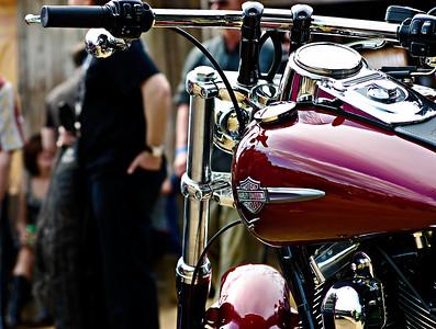 "Harley-Davidson motorcycle on display at ""Harley-Davidson Does SXSW"" in Austin, Texas 2010."