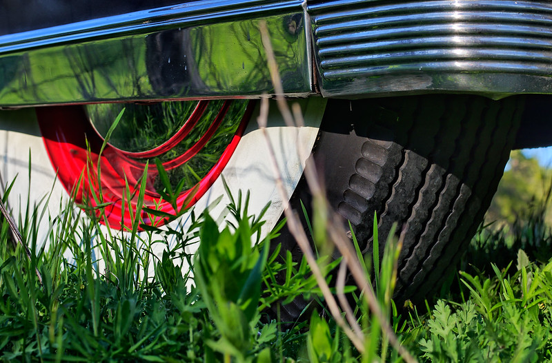 Rear tire view of 1941 Cadillac.