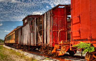 Tattered wooden caboose