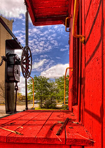 Bright red caboose