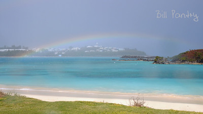 rainbow over St Davids from Coopers Island